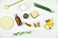 Emballage de matière première et de produit de beauté de cosmétiques, ingrédient organique naturel image libre de droits