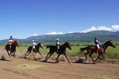 emballage de nomade de chevaux de bayga traditionnel Photographie stock libre de droits
