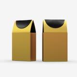 Emballage de papier de boîte à nourriture d'or avec le chemin de coupure Photos stock