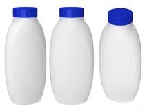 Emballage en plastique blanc de bouteille avec le chemin de coupure pour le cosmatics Image libre de droits