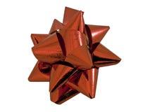 emballage rouge actuel d'isolement par cadeau de proue Photographie stock libre de droits