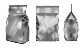 Emballage vide noir de poudre à laver de plastique ou de papier illustration libre de droits