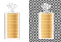 Emballage vide transparent avec du pain blanc illustration libre de droits