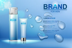 Emballageskönhetsmedel efter rakningkräm och rakaskum med en logo på bakgrund för blått vatten med droppar också vektor för corel royaltyfri illustrationer