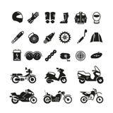 Emballant la moto, les pièces de motocyclette et le transport dirigent des icônes illustration libre de droits
