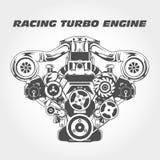 Emballant le moteur avec la puissance de surchauffeur - turbo Photographie stock
