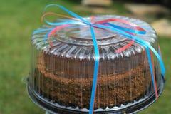 Emballerad kaka på en grön bakgrund Royaltyfria Foton