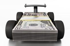 Emballez les pneus et le spoiler reliés à 50 billets d'un dollar illustration 3D Image libre de droits