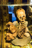 Embalmed mummy and skull in Peru. Bones at Chauchilla archeological site, Nazca, America Royalty Free Stock Photo