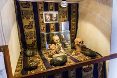 Embalmed mummy and skull in Peru. Royalty Free Stock Photos