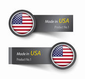 Embandeire o ícone e a etiqueta com o texto feito no Estados Unidos da América ilustração royalty free