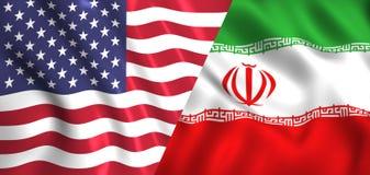Embandeire os EUA e o Irã que acenam na seda do vento ilustração royalty free