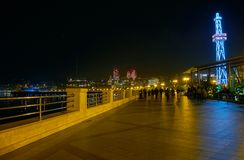 Embankmaet in Baku. Wide pedestrian area along coastline of Caspian Sea is the best place for evening promenades among locals, Baku, Azerbaijan stock images