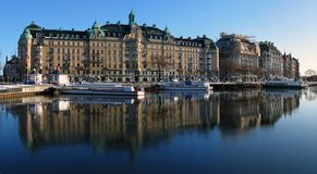 Embankmebt in Stockholm. Sweden in Royalty Free Stock Photography