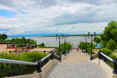 Embankment. Waterfront views of the Amur River in Khabarovsk, a warm summer day Royalty Free Stock Photos