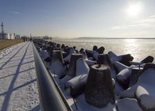 The embankment along the Baltic Sea of the city of Klaipeda in Lithuania on a sunny winter day stock photography