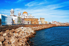 Embankment along the sea and the old Spanish town Stock Photography