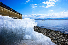 Embankment of the Amur River in Khabarovsk. April 2014. Far East.  City of Khabarovsk. Embankment of the Amur River. Russia Stock Photography
