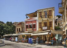 Embankment in Ano Symi. Greece Stock Photos