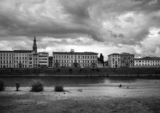 Embankment of the Arno River. Florence. Tuscany. Italy. black and white. Florentine style stock photo