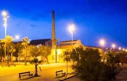 Embankment at Badalona in night Stock Photography