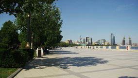 Embankment of Baku, Azerbaijan. People Walk Along the Embankment near the Caspian Sea stock footage