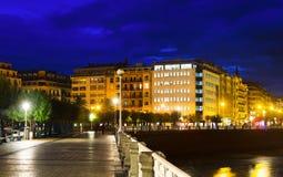 Embankment of  Bay of La Concha in   night.  San Sebastian Royalty Free Stock Photography