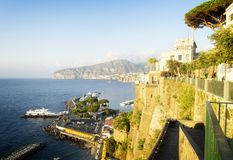 Sorrento, southern Italy. Embankment and beach of Sorrento, southern Italy, toned image Stock Photography