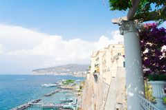 Sorrento, southern Italy. Embankment and beach of Sorrento at summer day, southern Italy stock photo