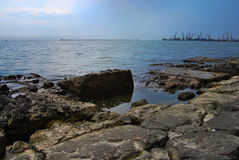 Embankment in Berdyansk. Embankment of stone slabs in Berdyansk on the Sea of ​​Azov Royalty Free Stock Photography