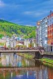 Embankment with bridge above Tepla River Karlovy Vary Royalty Free Stock Photos