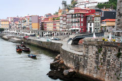 Embankment Cais da Ribeira, May 6, 2013 in Porto, Portugal. Royalty Free Stock Photography
