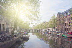 Embankment of canal ring, Amsterdam Stock Photography