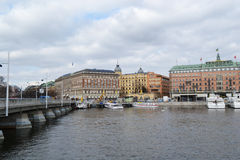Embankment in cental part of Stockholm Stock Image