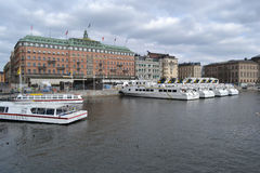 Embankment in cental part of Stockholm royalty free stock image