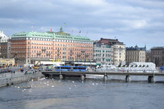 Embankment in cental part of Stockholm Stock Photos