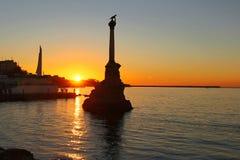 Sunset above embankment of Sevastopol royalty free stock photography