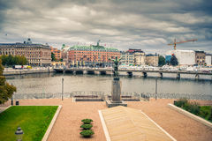 Embankment in central part of Stockholm. Royalty Free Stock Image