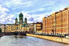 Embankment of the channel Griboedov and St. Isidore Church royalty free illustration