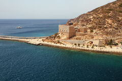 Embankment and Christmas fort. Cartagena, Spain Royalty Free Stock Images