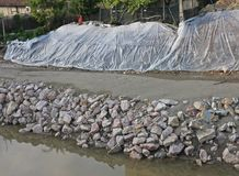 Embankment consolidation work of the river bacchiglione in vicen Stock Image