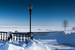 Embankment covered with snow Royalty Free Stock Photo