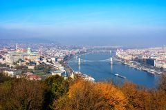 Embankment of the Danube from Gellert Hill. Budapest, Hungary. Budapest, Hungary - November 6, 2015: Embankment of the Danube from Gellert Hill. Budapest royalty free stock photography
