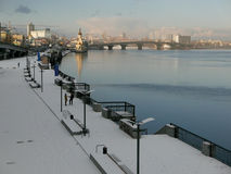 Embankment of the Dnieper river winter. Snow Stock Photography