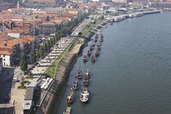 Embankment of Douro river, Vila Nova de Gaya Royalty Free Stock Photography