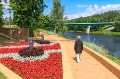 Embankment in Druskininkai, Lithuania Stock Photos