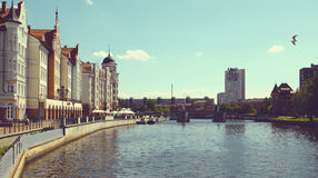 Embankment of the Fishing Village. Kaliningrad Royalty Free Stock Photos
