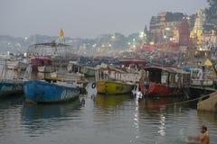 Embankment of the Ganges River in Varanasi, India,. November 2016 stock photos