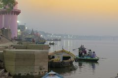 Embankment of the Ganges River in Varanasi, India,. November 2016 royalty free stock images