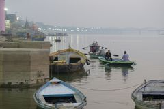 Embankment of the Ganges River in Varanasi, India,. November 2016 stock photography